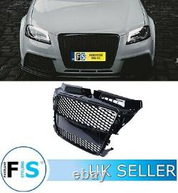 Audi A3/s3 8p Rs3 Style Honeycomb Mesh Front Grille Gloss Black 2008-2012