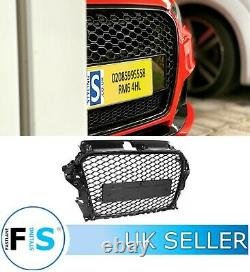 Audi A3/s3 8v Rs3 Style Honeycomb Mesh Front Grille Gloss Black 2012-2015