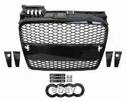Audi A4 B7 2004-07 RS4 Look Style Gloss Black Front Honeycomb Mesh Grille Bumper