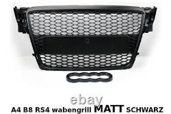 Audi A4 B8 2009-12 Wabengrill KühlerGrill SCHWARZ MATT Mesh Grill RS4 S line