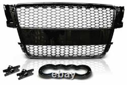 Audi A5 8t Rs Style 2007-2011 Gloss Black Honeycomb Debadged Mesh Sports Grill