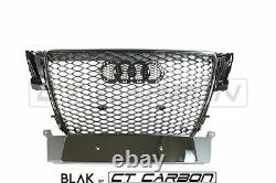Audi A5 S5 B8 2008-2012 All Black Honeycomb Grille Blak By Ct Carbon