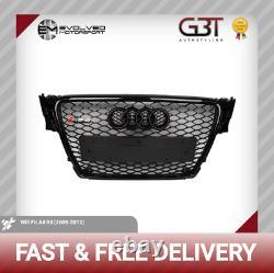 Audi Rs4 Grill A4 To Rs4 S4 B8 Se S Line All Black Audi Rings 2008-12 Gb71