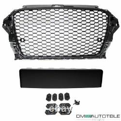 Badgeless Front Grille Grill Honeycomb Black Gloss fits Audi A3 8V 12-16 RS3 Mod