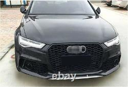 Black Front Mesh Grille Grill for Audi A6 C7.5 Sline S6 2016-2018 To RS6 Style