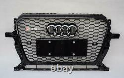 Black Front Mesh Honeycomb Grille Grill for Audi Q5 8R 2013-2015 To RSQ5 Style