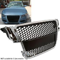 Chrome Black Honeycomb Debadged Badgeless Mesh Grill Grille For Audi A5 8t 08+