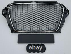 Chrome / Gloss black honeycomb car grill for Audi A3 8V 2012-2016 S3 grille PDC