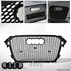 Fit 13-16 Audi A4/S4 B8.5 Glossy Blk RS Honeycomb Mesh Front Bumper Grill Grille