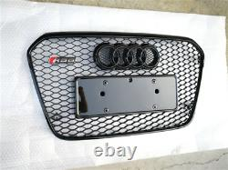 Fit for Audi A6 C7 2012-2015 All Black Front Bumper Grille Mesh Grill To RS6