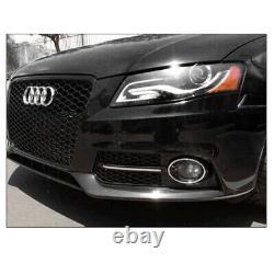 For 09-12 Audi A4 RS4 Style Honeycomb Grille+Bumper Fog Light Bezels Gloss Black