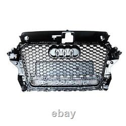 For 2013-2016 Audi A3 S3 8V Front Grill Honeycomb S-Line RS3 Style Gloss Black