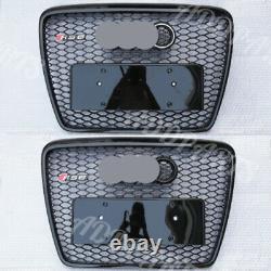 For AUDI A6 C6 RS6 S6 2005 2010 Black Gril Grille + Chrome or Black Emblem
