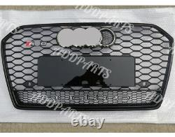 For AUDI A6 C7 RS6 S6 2013 2015 Front Black Gril Grille Quattro Chrome Emblem