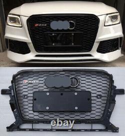 For AUDI Q5 RSQ5 2013 2017 Grille Full Black Honeycomb Mesh + Chrome Emblem