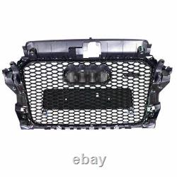 For Audi A3 S3 8V RS3 Style Front Grille (Black Mesh Frame) Quattro Rings 14-16