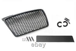 For Audi A4 B7 04-09 Mesh Grill Debadged Sport Front Grill Black Emblemholder
