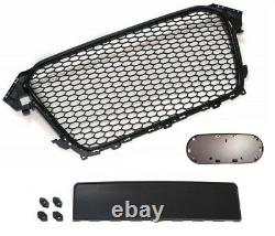 For Audi A4 B8 Facelift Badgeless Front Mesh Grill Emblemholder Glossy Black -16