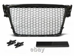 For Audi A4 B8 Front ABS BLACK GLOSS Honeycomb Grill RS Design