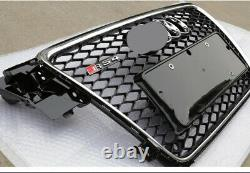 For Audi A4 B8 Front Grille S4 Mesh Black Chrome border With Emblem 2009 2012