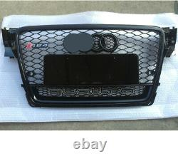 For Audi A4 B8 Front Grille S4 RS4 Honeycomb Mesh 2009 2012 Quattro Two Rings