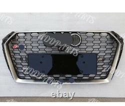 For Audi A4 RS4 2017-2018 B9 RS4 Grille Quattro Gloss Black Chrome Emblem Border