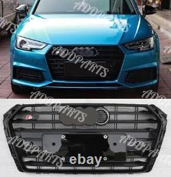 For Audi A4 S4 2017-2018 B9 Grille Gloss Black horizontal stripes + emblem