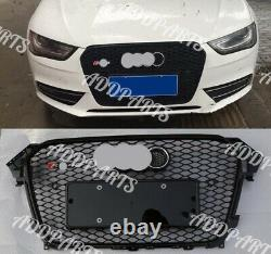 For Audi A4 S4 B8.5 RS4 Honeycomb Mesh Front Black Grill 2014 2015 2016