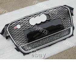 For Audi A4 S4 B8.5 RS4 Honeycomb Mesh Front Chrome Grill 2014 2015 2016 Quattro