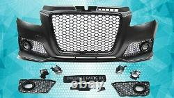 Front Bumper For Audi A3 8p 8pa S3 08-12 Rs3 Look Black Honeycomb Grill Grille