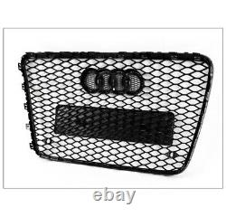 Front Bumper Honeycomb Mesh RSQ7 Style Grille Gloss Black For 2007-2015 Audi Q7