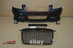 Front Bumper With Rs3 Look Honeycomb Grill For Audi A3 S3 2004 2008 8p Pp