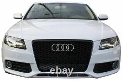 Front GLOSSY BLACK HONEYCOMB RS-STYLE Grille For Audi A4 B8 08-11