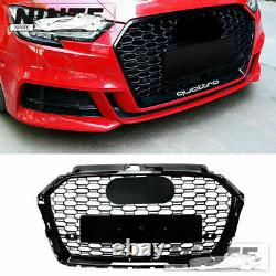 Front Grille For 17-19 Audi A3 S3 8V Grill With ACC Hole RS3 Style Gloss Black