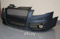 Full Front bumper RS Style for AUDI A4 B7 S line Bodykit Black Grill Mesh S4