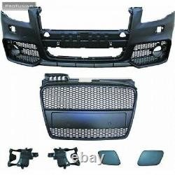 Full Front bumper for AUDI A4 B7 PDC RS S Sport line Bodykit Black Grill Mesh S4
