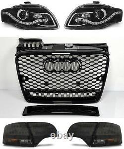 Für Audi A4 B7 04-08 RS4 Look Wabengrill + Led Scheinwerfer + Rückleuchten Grill