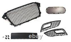 Für Audi A4 B8 Kühlergrill Sportgrill Waben-Grill Emblemhalter + Lüftungsgitter