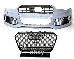 Für Audi A7 4G 14-18 RS7 Look Frontstoßstange + Wabengrill Auspuff Stoßstange 28