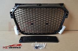 Gloss Black Front Grill Full Mesh Honeycomb Fits Audi A1 S1 Rs1 2010 2014
