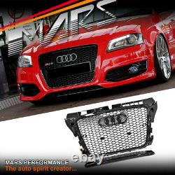 Gloss Black Honeycomb RS3 Style Front Bumper Grille Grill for AUDI A3 8P 09-12