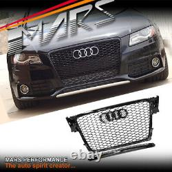 Gloss Black Honeycomb RS4 Style Front Bumper Grille Grill for AUDI A4 B8 09-11