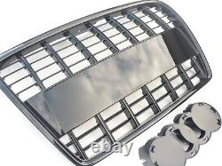 Gloss black A8 style car grill compatible with Audi A3 8P2 2005-2008 slatted 8P