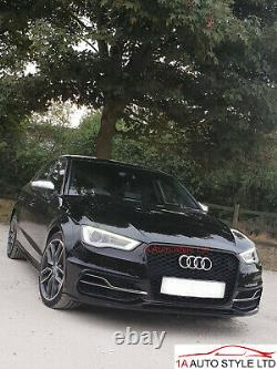 Gloss black honeycomb mesh car grill for Audi A3 8V 2012-2016 S3 RS3 grille PDC