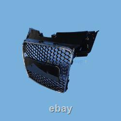 Glossy Black FRONT RADIATOR GRILLE Honeycomb Grill For Audi TT TTS MK2 06-14
