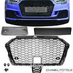 Honeycomb Front Grille Black Gloss+ Accessoires fits on Audi A3 8V Facelift +RS3
