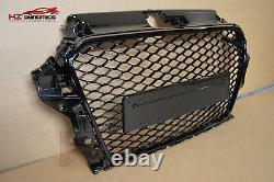 Honeycomb Gloss Black Front Bumper Grill Fits Audi A3 S3 8v 2013 2015 Rs3 Look