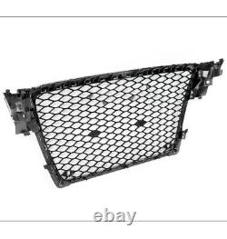 Honeycomb Mesh Rs4 Hex Grille Grill Black/silver Trim For 09-12 Audi A4/s4 B8 8t