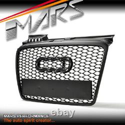 Matt Black Rs Honeycomb Style Front Bumper Bar Grille Grill For Audi A4 B7 06-08