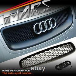 Matt Black Rs Honeycomb Style Front Bumper Bar Grille Grill For Audi Tt 8n 99-06